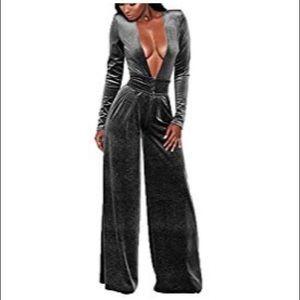 Dresses & Skirts - Grey velvet plunge jumpsuit